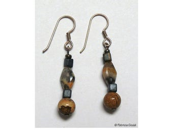 EA23 - Earrings - Jasper, Myuki glass and sterling wires - one of a kind by Patricia Gould