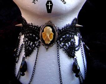 Bat Skull Necklace / Spiked Lace Gothic Choker / Morbid Resin Bat Skull Choker Taxidermy Jewelry Macabre Studded Choker