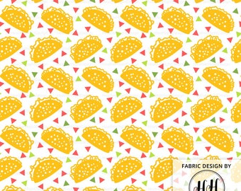 Taco Tuesday Fabric By The Yard - Fiesta Taco Pattern on White Print in Yard & Fat Quarter