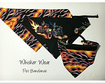 reversible pet bandana, dog bandana, pet scarf, dog scarf, pet attire, pet clothing, reversible, skulls, motorcycle, flames