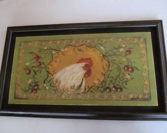 Farmhouse Rooster Art Framed Picture Rooster Decor Chicken Figurines Rooster Wall Art  Free Range Chickens Rooster Wall Art