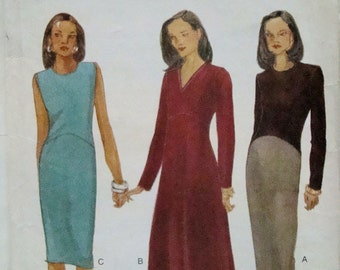 Vogue 9563 UNCUT  Easy Options Empire and Dropped Waist Dressy Casual Dresses Office to Evening Deep V Neck Opt Sizes 6- 16 Sewing Pattern