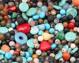 NEW! 50-200 Grams Mixed Gemstone Beads Quality Items May Include Quartz,Turquoise,Jasper, Hematite etc In Various Shapes & Sizes