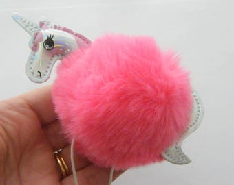 1 Unicorn dark pink pom pom pendant gold tone A903