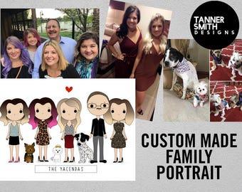 Custom Portrait, Personalized Family Portrait, Cartoon Family Illustration | Tanner Smith Designs