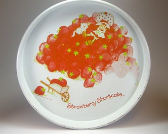 Vintage Metal Serving Tray, Strawberry Shortcake, 1980, American Greetings, J Chein Co, Cheinco, Set Prop