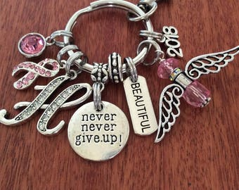 BREAST-Cancer-Gifts, Breast Cancer Keychain Bracelet, Cancer Awareness Gifts, Awareness Keychain, Cancer Survivor Gifts, Never Give Up Gift