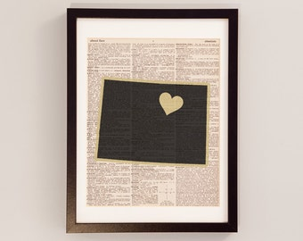 University of Colorado Dictionary Art Print - Boulder Colorado Art, Print on Vintage Dictionary Paper - I Heart Boulder - Colorado Buffaloes