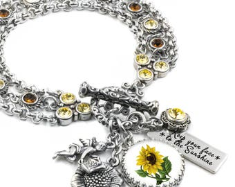 Silver Sunflower Jewelry - Sunflower Bracelet -  Charm Bracelet - Autumn Bracelet