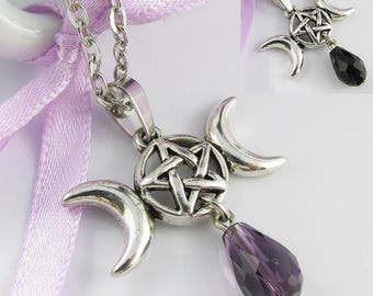 Triple Moon Goddess Wicca Charm Necklace 45cm Select Black or Purple Crystal