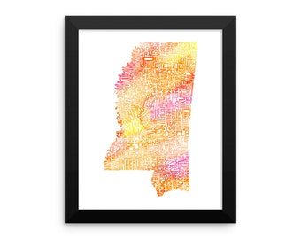 Mississippi watercolor typography map art FRAMED print state poster wedding engagement graduation gift anniversary wall decor lake house