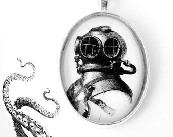Deep Sea Diver Nautical Silver Pendant Necklace