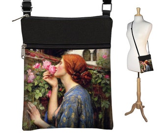 Small Crossbody Bag Cross Body  Purse Shoulder Bag  Fabric Handbag Art Bag Waterhouse Soul of the Rose Pre-Raphaelite Woman, blue pink RTS