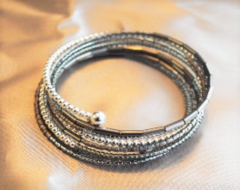 Gray and Silver Small Beaded Wrap bracelet