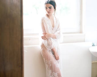 Ready to ship - Elena -Long lace robe - Chantilly lace robe - bridal lace robe - lace kimono - ivory - STYLE 415