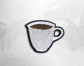 Coffee Cup Iron on Patch(M2) - Coffee Cup Applique Embroidered Iron on Patch - Size 5.4x4.6 cm