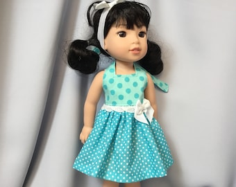 14.5 Inch Doll CLothes Halter Summer Dress with Headband for dolls like Wellie Wishers
