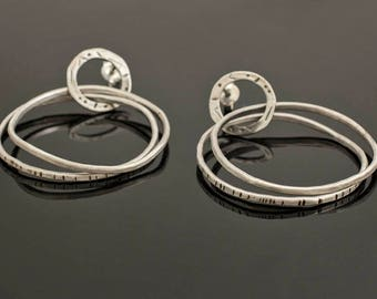Earrings, Sterling Silver, 925, Irregular, Textured, Plain Silver, Hoops, Oxidized, Brushed, Contemporary Jewelry, Greek Designer, Diapiro