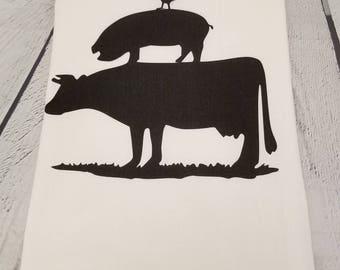 Rooster pig cow flour sack tea towel