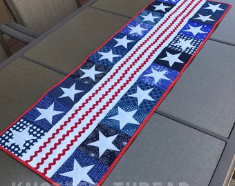 Stars and Stripes Runner - Patriotic Decor - Fourth of July - Memorial Day - READY TO SHIP