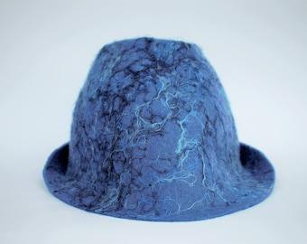 Sauna hat blue felted wool hat handmade Felt hat Gift for Him sauna Accessories hat for men with mohair fiber