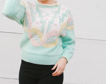 1980s Cozy Pastel Novelty Sweater