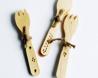 Woodburned Mini Forks