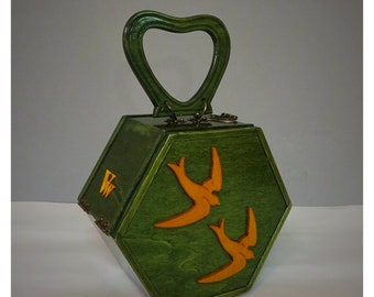 Vintage style wood top handle bag , green and yellow swallows handbag , Handmade by V.and The Wolf .