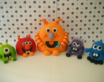 Fondant Edible Monster Edible Cake Toppers -  Set of 5