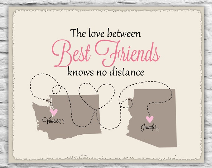 Gift for Best Friends - Long Distance Print Best Friend Birthday Gift, BFF, Sister, Daughter, Besties Personalized Gift Art Print Map States