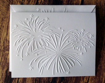 Embossed Fireworks Cards, Set of 5, 4th of July Cards, White Embossed Cards, New Year's Cards, Greeting Cards, Blank Independence Day Cards
