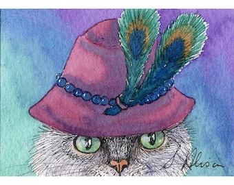 Original cat mini art ACEO silver tabby undercover cat cloche hat in disguise incognito - a Susan Alison watercolour painting miniature