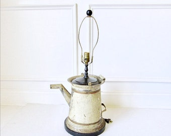 Antique Watering Can Lamp Base Light Watering Canister Large Metal Distressed Shabby Chic Farmhouse Vintage 1950s