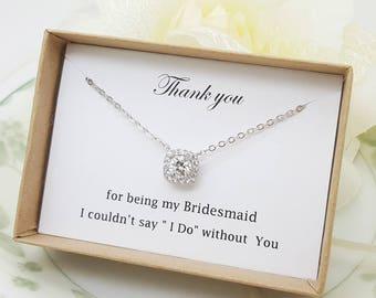 Luxury Square Pendant bridesmaid Cubic Zirconia Necklace, Bridesmaid Gift