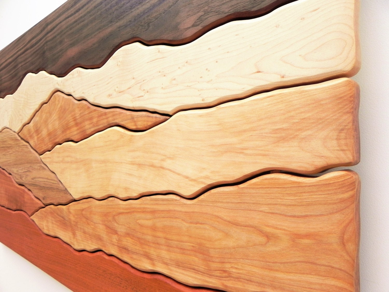 Mountain scene wood wall art /Sugar maple, Yellow birch, Red birch ...