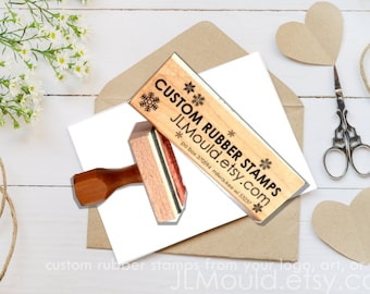2x6 6x2 inches Custom Stamp Sized Wood Mounted Rubber Stamp Your logo, art Business Stamp Wedding Stamp  Stamp Branding Stamp Personalized
