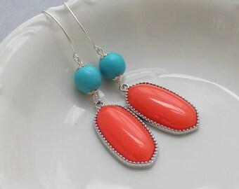 Coral Earrings - Turquoise Earrings - Silver Earrings - Turquoise and Coral Earrings - Coral and Silver Earrings - Boho Earrings - Bezel Set