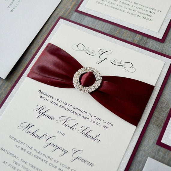 STEFANIE - Burgundy and Silver Glitter Wedding Invitation with Silver Rhinestone Buckle -Elegant and Glamorous Oversized Wedding Invitation
