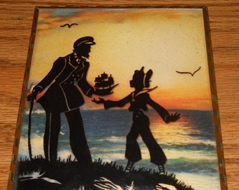 20% Off 1940 Lot of ~2~ Sailor with Little Boy Silhouette Pictures~Bubble Glass~Framed