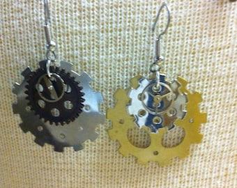 Mixed medal steampunk earrings