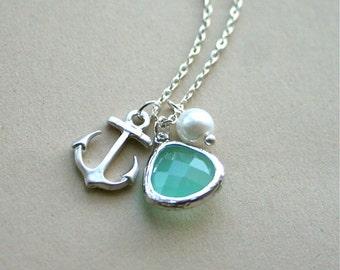 Anchor Necklace, Aquamarine Necklace, Silver Anchor Necklace, Birthstone, Sterling Silver, Aqua and Achor Necklace, Beach Wedding Jewelry