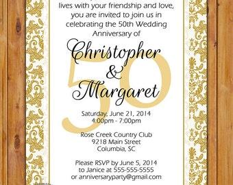 50th Golden Wedding Anniversary Invitation Gold Golden Damask Party Invite Printable 5x7 JPG Digital Invite (224)
