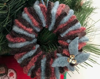 Felted Wool Wreath Ornament // Dark Brown, Teal, Russet