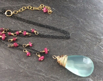 Chalcedony and Ruby necklace - Mixed metal necklace, Gemstone fringe necklace, Boho jewellery, Silver and gold necklace, Birthday gift