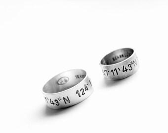 personalized sterling silver latitude longitude ring (custom order - coordinates, latitude longitude, location ring) - ring band