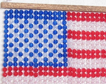 """American Flag, Plastic Beads,  12"""" tall x 11"""" wide, Patriotic, United States Flag"""