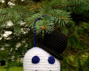 Large Crochet Snowman Ornament Decoration