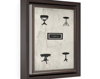 Tables - Vertical Framed Premium Gallery Wrap Canvas Size: 8″ × 10″