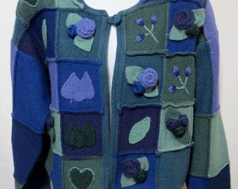 April Cornell Navy Green Purple 100% Wool 3D Floral Patchwork Cardigan Sweater S