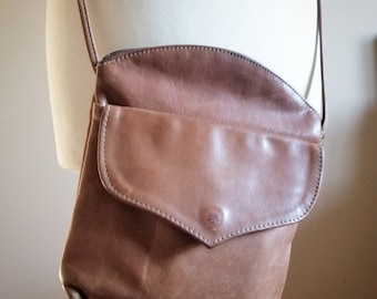 Chestnut Brown Leather Crossbody Bag with Large Front Pocket